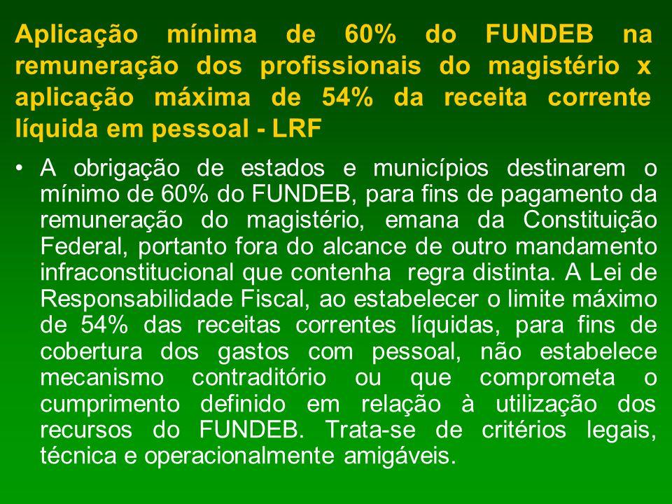 Aplicação mínima de 60% do FUNDEB na remuneração dos profissionais do magistério x aplicação máxima de 54% da receita corrente líquida em pessoal - LRF