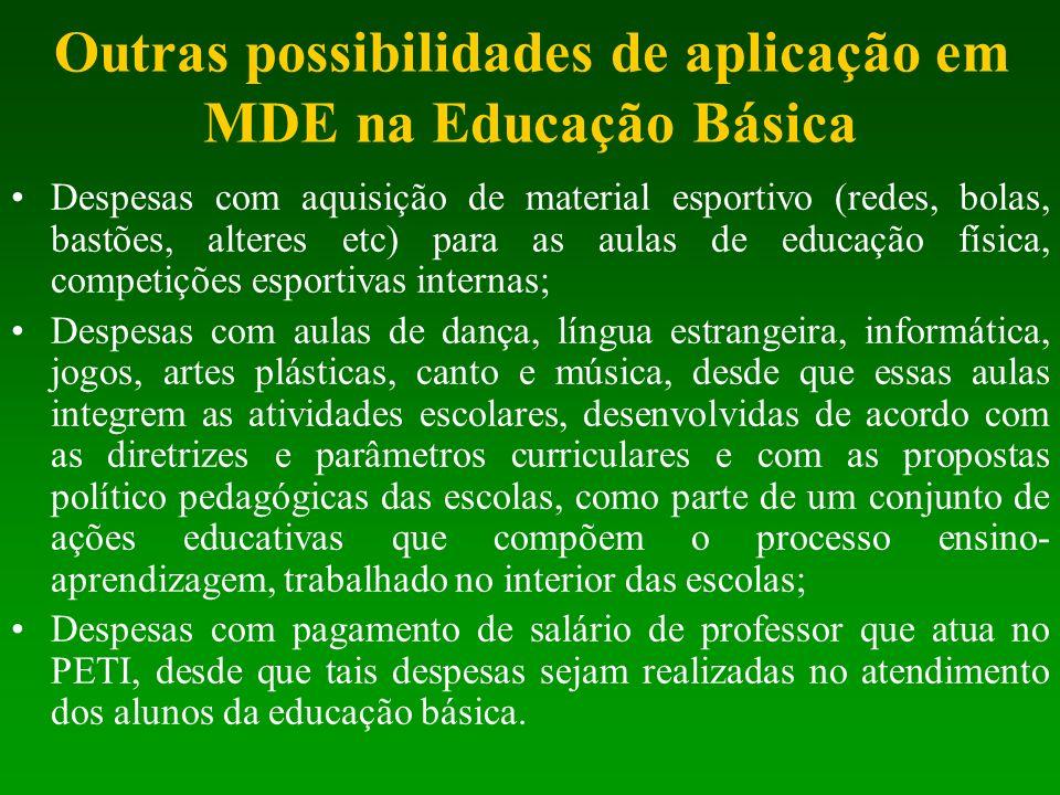 Outras possibilidades de aplicação em MDE na Educação Básica