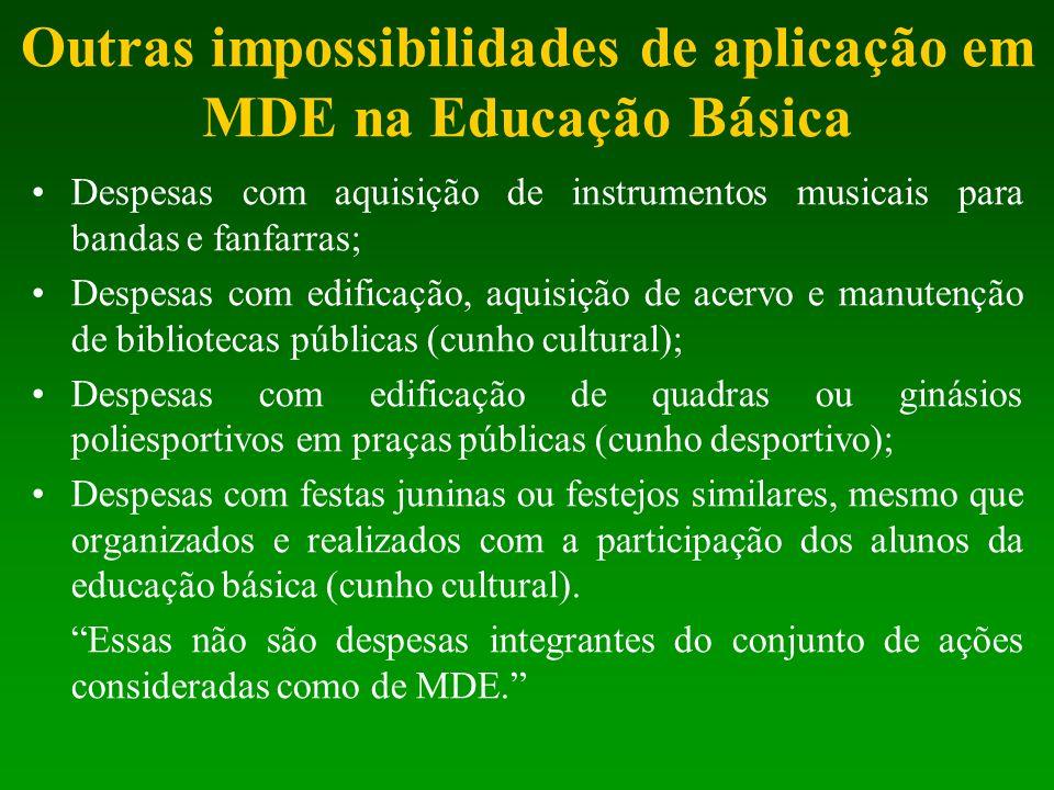 Outras impossibilidades de aplicação em MDE na Educação Básica