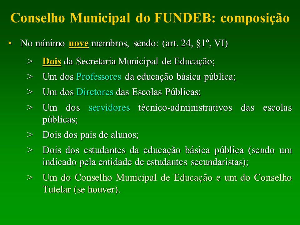 Conselho Municipal do FUNDEB: composição