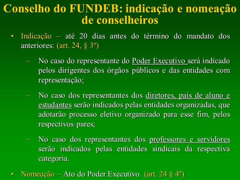 Conselho do FUNDEB: indicação e nomeação de conselheiros