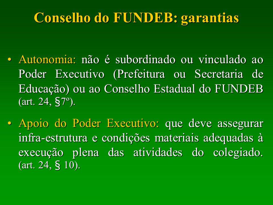 Conselho do FUNDEB: garantias