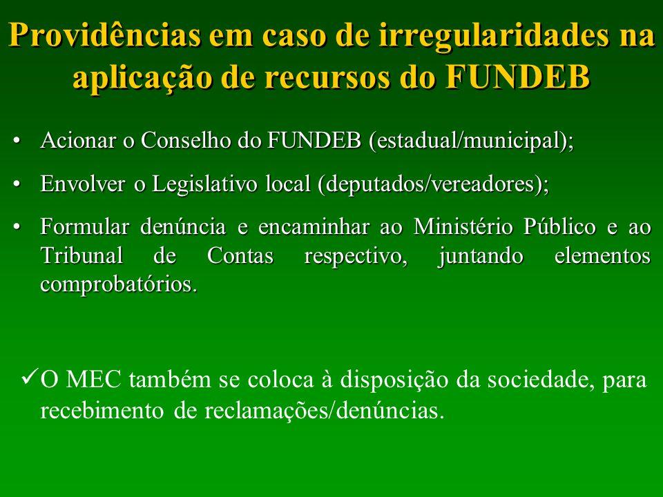 Providências em caso de irregularidades na aplicação de recursos do FUNDEB