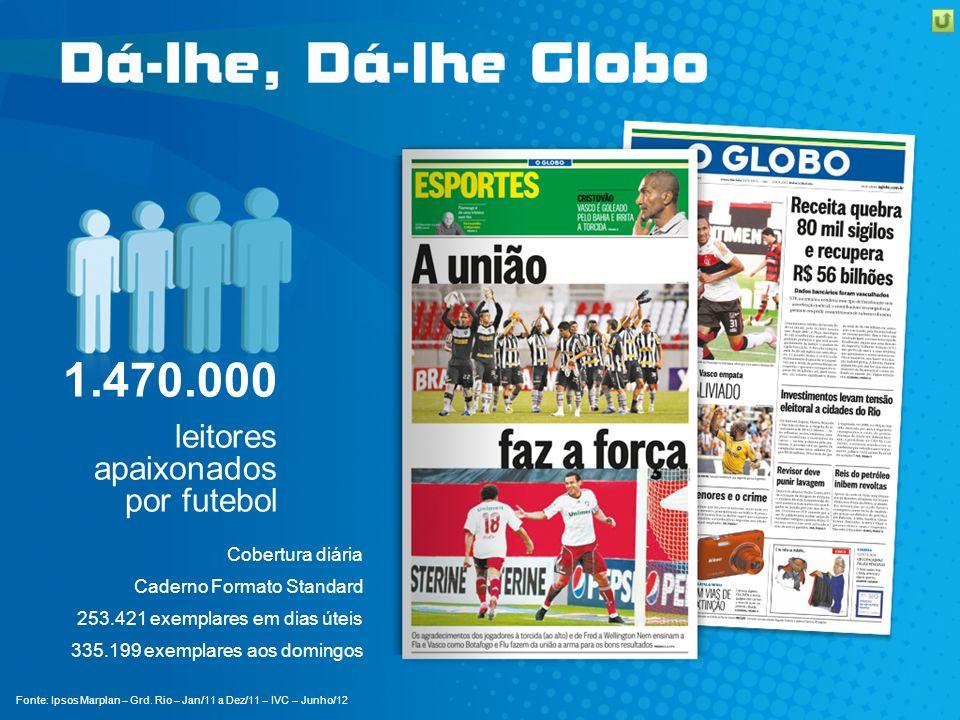 1.470.000 leitores apaixonados por futebol Cobertura diária