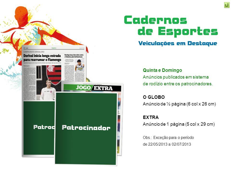 Anúncios publicados em sistema de rodízio entre os patrocinadores.
