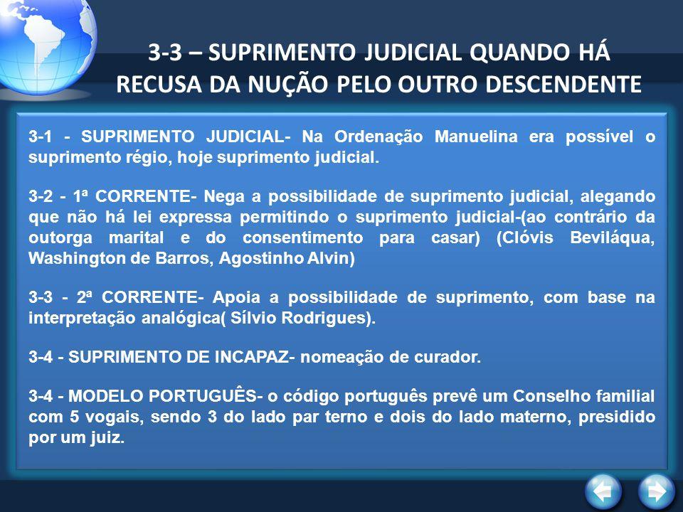 3-3 – SUPRIMENTO JUDICIAL QUANDO HÁ RECUSA DA NUÇÃO PELO OUTRO DESCENDENTE
