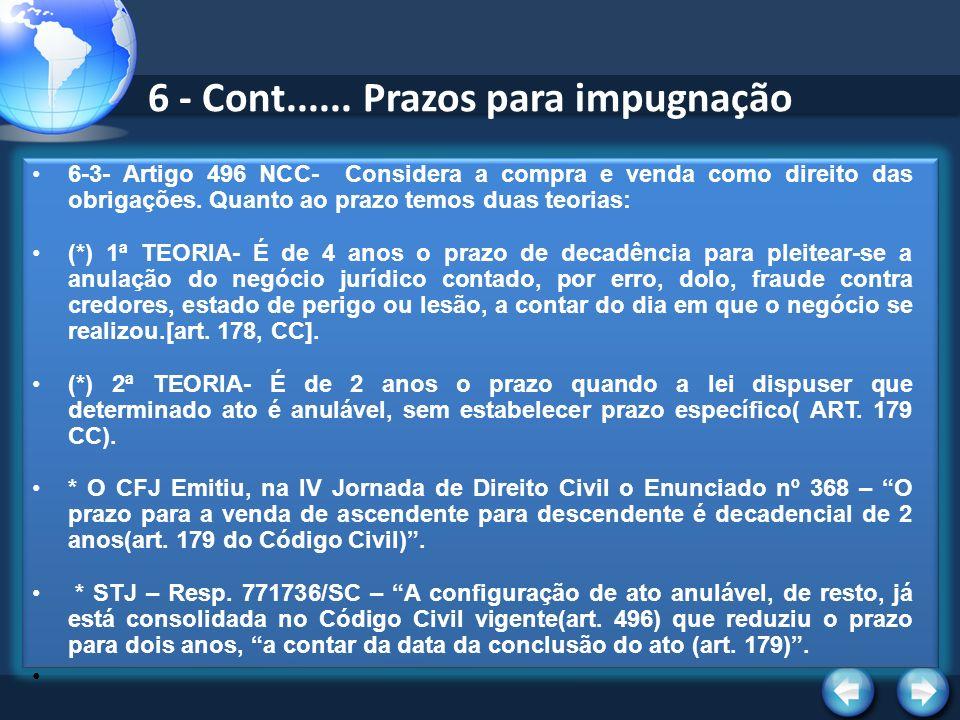 6 - Cont...... Prazos para impugnação