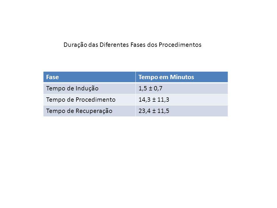 Duração das Diferentes Fases dos Procedimentos