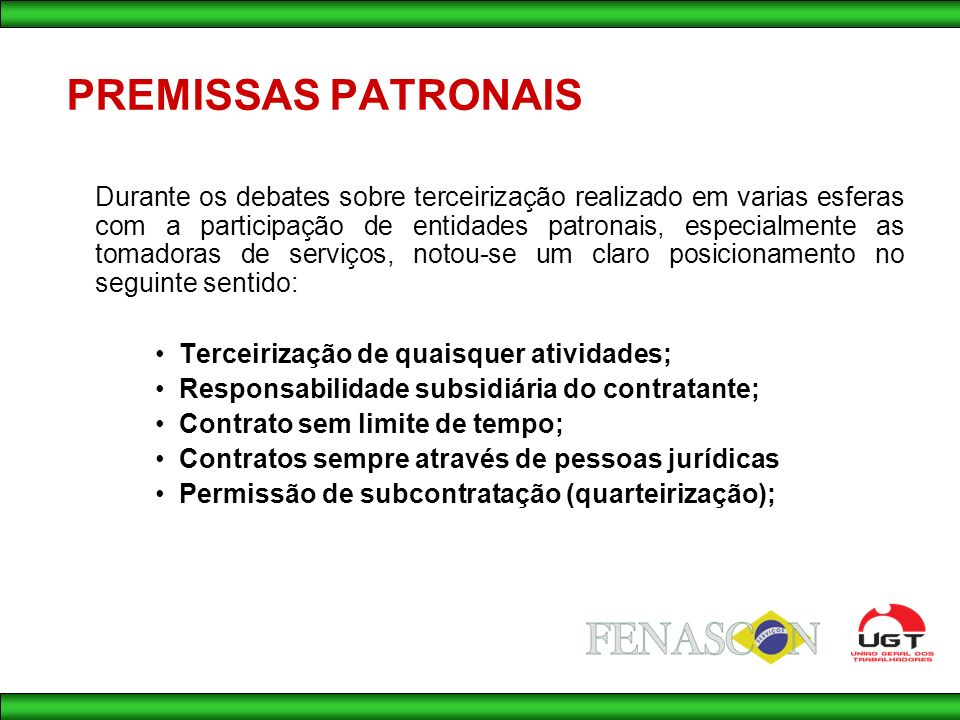 PREMISSAS PATRONAIS