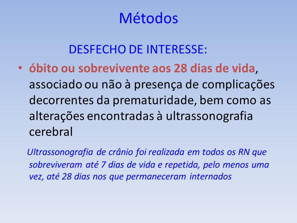 Métodos DESFECHO DE INTERESSE: