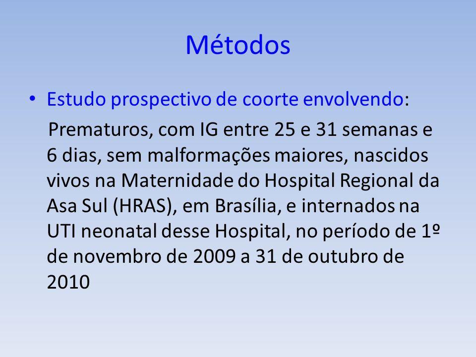 Métodos Estudo prospectivo de coorte envolvendo: