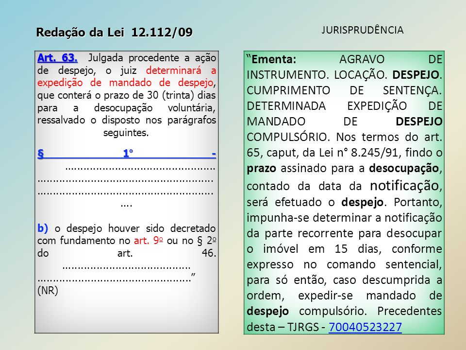 Redação da Lei 12.112/09 JURISPRUDÊNCIA