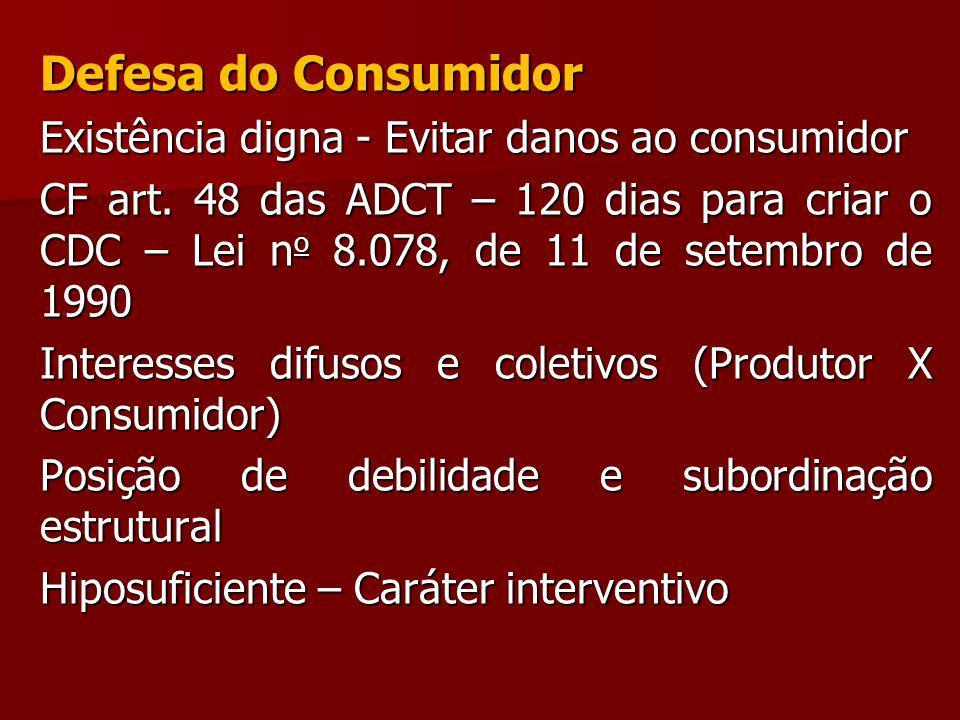 Defesa do Consumidor Existência digna - Evitar danos ao consumidor