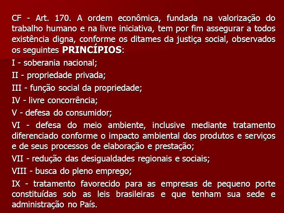 CF - Art. 170. A ordem econômica, fundada na valorização do trabalho humano e na livre iniciativa, tem por fim assegurar a todos existência digna, conforme os ditames da justiça social, observados os seguintes PRINCÍPIOS: