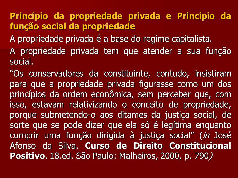 Princípio da propriedade privada e Princípio da função social da propriedade
