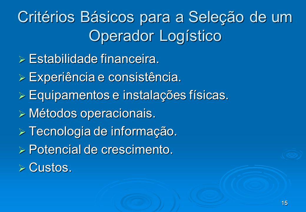 Critérios Básicos para a Seleção de um Operador Logístico