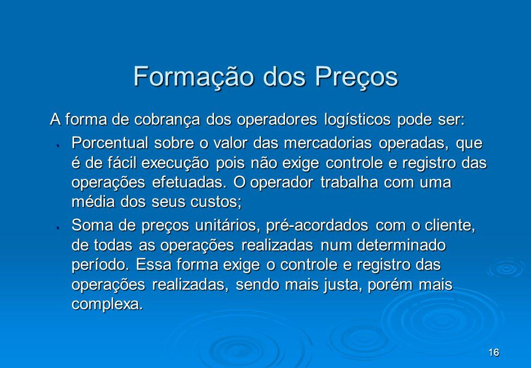 Formação dos Preços A forma de cobrança dos operadores logísticos pode ser: