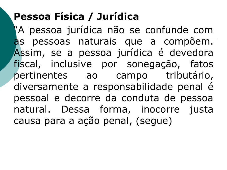 Pessoa Física / Jurídica A pessoa jurídica não se confunde com as pessoas naturais que a compõem.