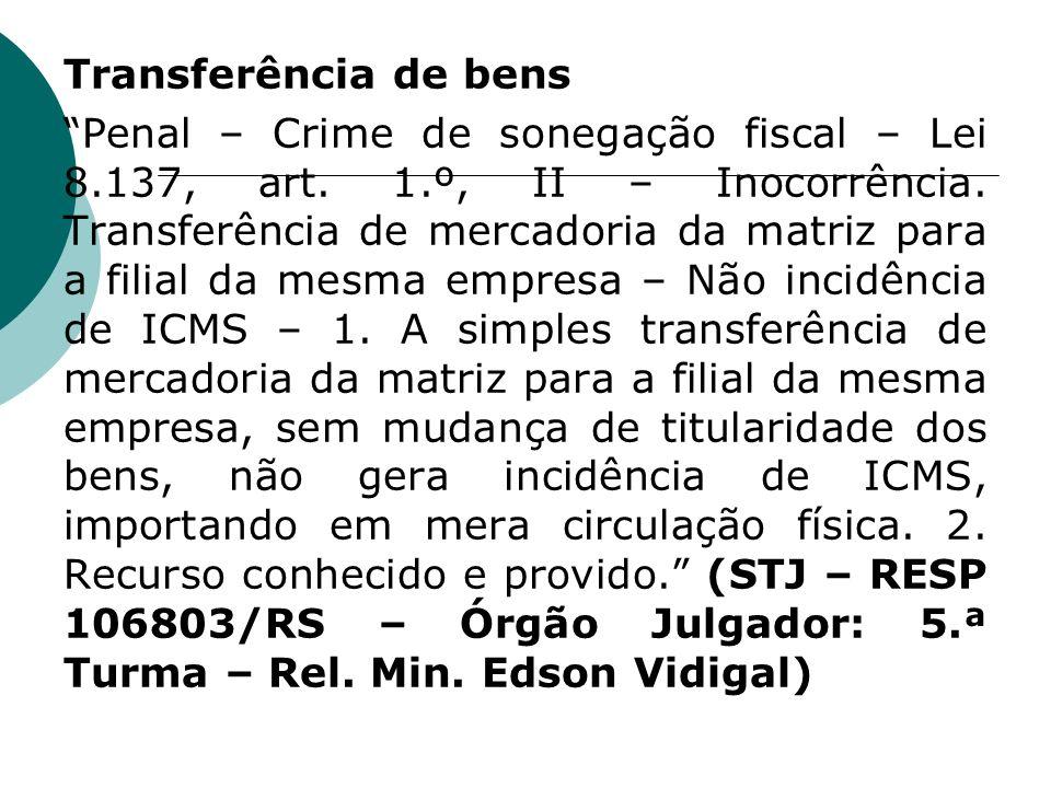 Transferência de bens Penal – Crime de sonegação fiscal – Lei 8