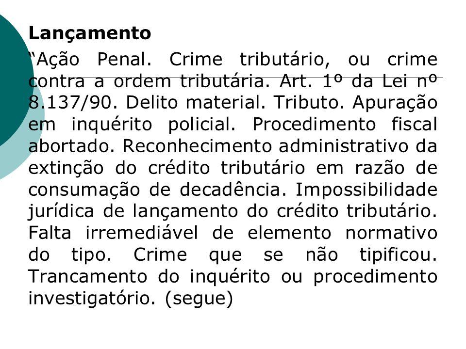 Lançamento Ação Penal