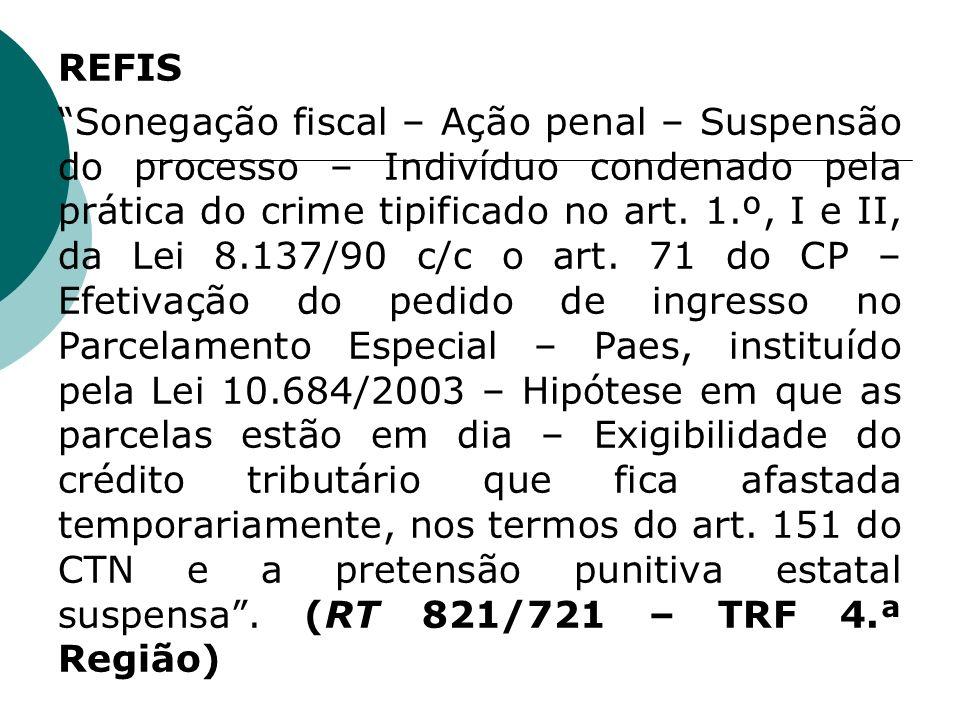 REFIS Sonegação fiscal – Ação penal – Suspensão do processo – Indivíduo condenado pela prática do crime tipificado no art.