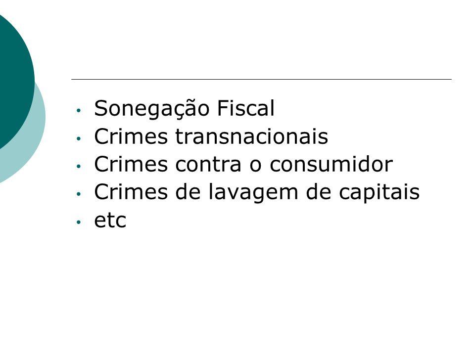 Sonegação Fiscal Crimes transnacionais Crimes contra o consumidor Crimes de lavagem de capitais etc