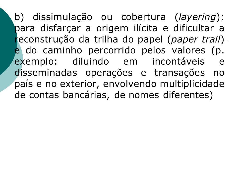 b) dissimulação ou cobertura (layering): para disfarçar a origem ilícita e dificultar a reconstrução da trilha do papel (paper trail) e do caminho percorrido pelos valores (p.