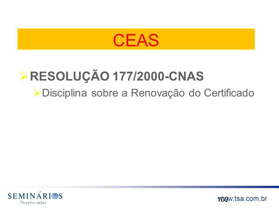 CEAS RESOLUÇÃO 177/2000-CNAS Disciplina sobre a Renovação do Certificado