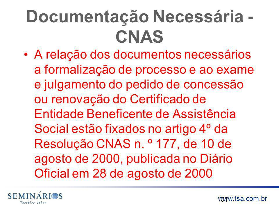 Documentação Necessária - CNAS