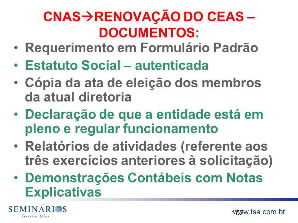 CNASRENOVAÇÃO DO CEAS – DOCUMENTOS: