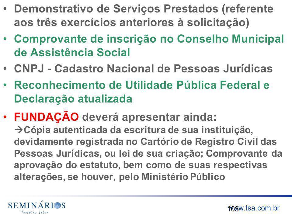 Demonstrativo de Serviços Prestados (referente aos três exercícios anteriores à solicitação)