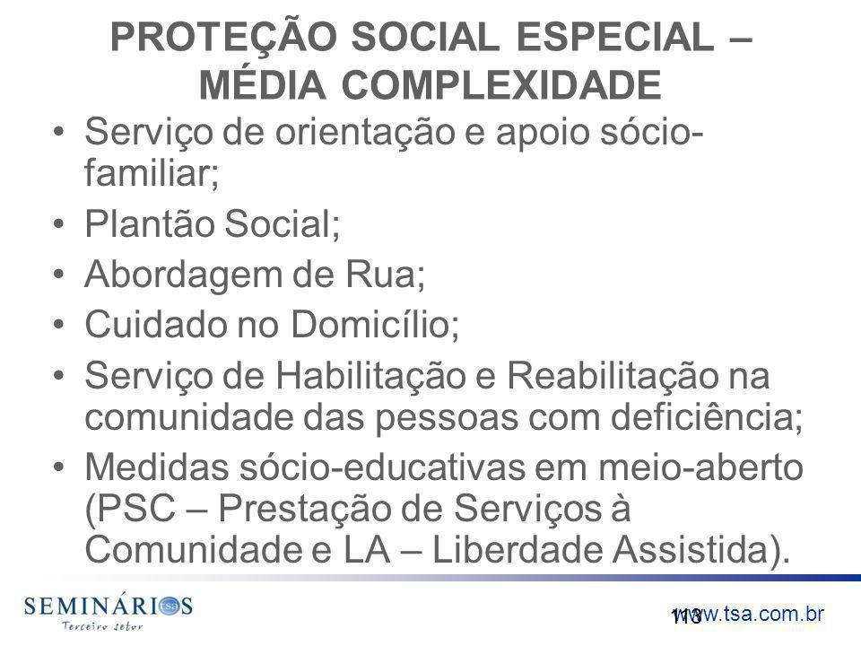 PROTEÇÃO SOCIAL ESPECIAL – MÉDIA COMPLEXIDADE
