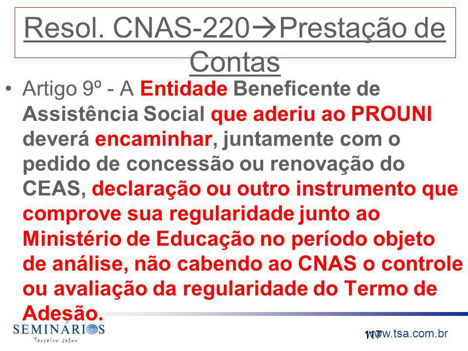 Resol. CNAS-220Prestação de Contas