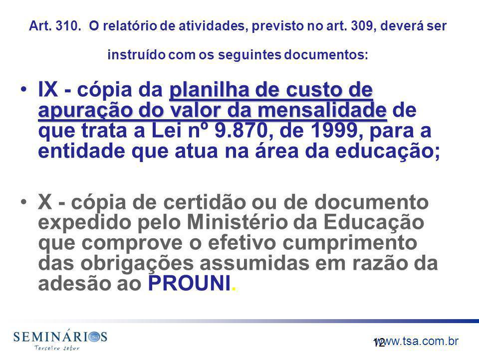 Art. 310. O relatório de atividades, previsto no art