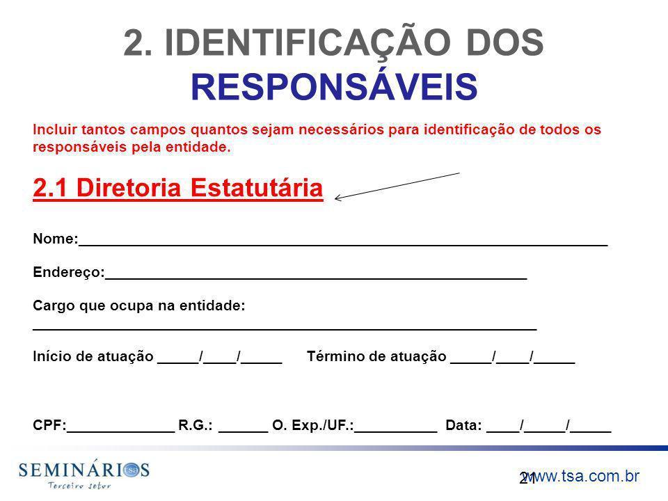 2. IDENTIFICAÇÃO DOS RESPONSÁVEIS