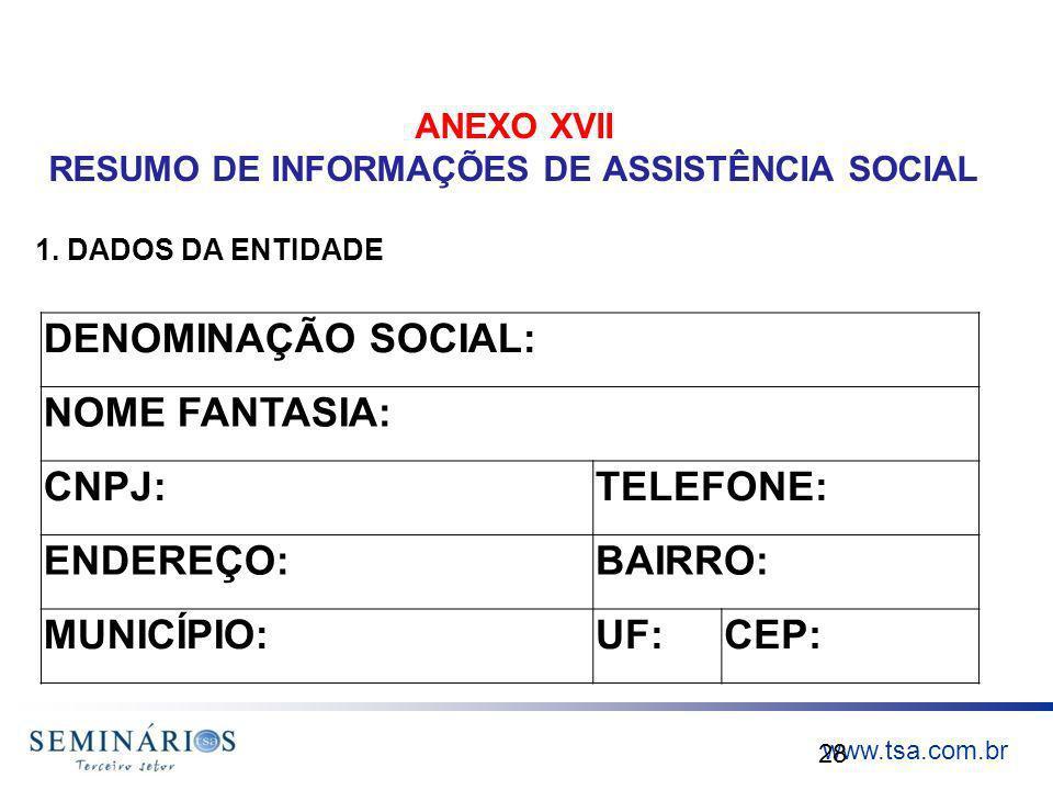 ANEXO XVII RESUMO DE INFORMAÇÕES DE ASSISTÊNCIA SOCIAL