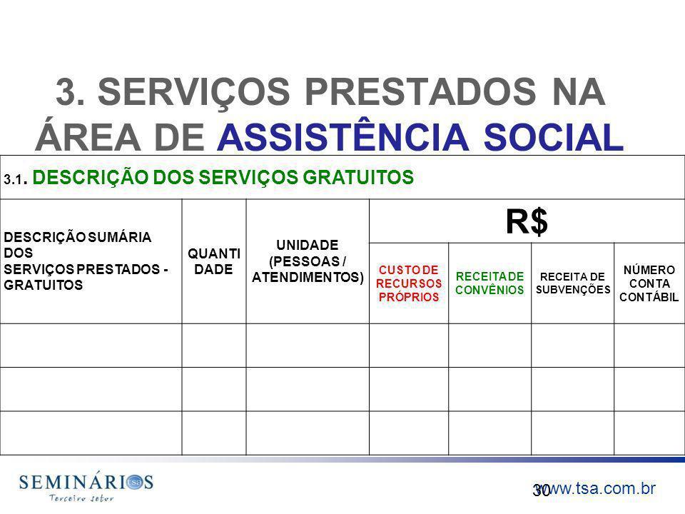 3. SERVIÇOS PRESTADOS NA ÁREA DE ASSISTÊNCIA SOCIAL