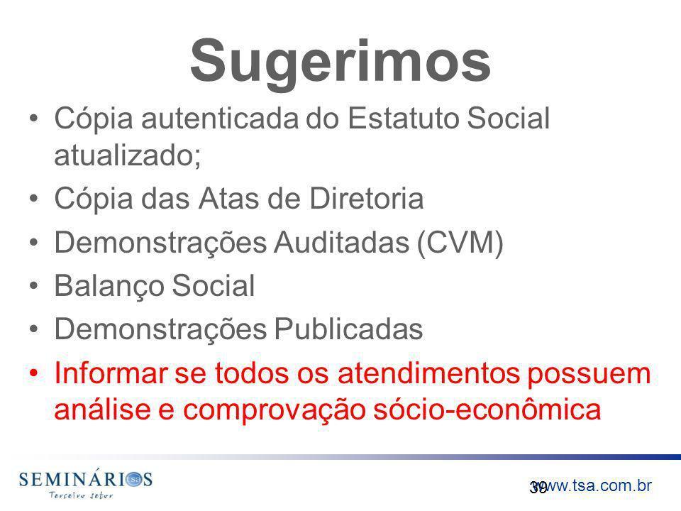 Sugerimos Cópia autenticada do Estatuto Social atualizado;