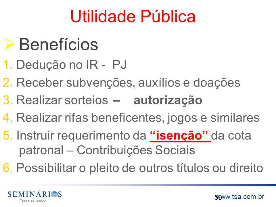Utilidade Pública Benefícios 1. Dedução no IR - PJ
