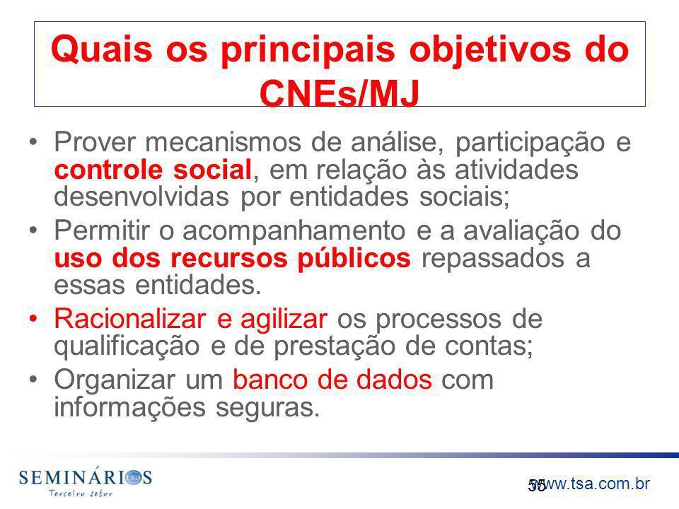 Quais os principais objetivos do CNEs/MJ