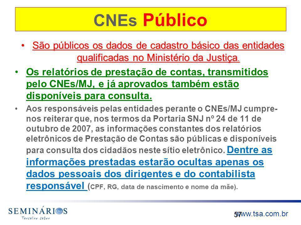 CNEs Público São públicos os dados de cadastro básico das entidades qualificadas no Ministério da Justiça.