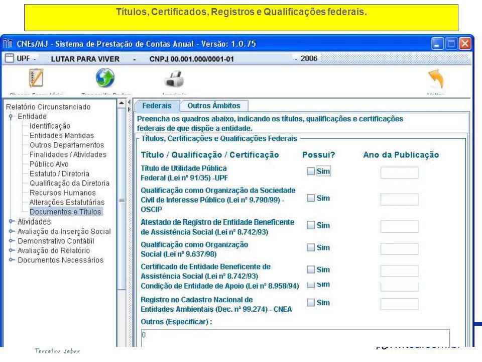 Títulos, Certificados, Registros e Qualificações federais.