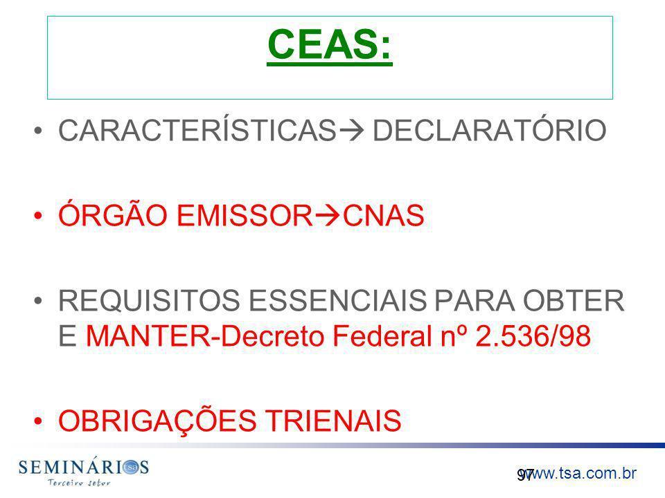 CEAS: CARACTERÍSTICAS DECLARATÓRIO ÓRGÃO EMISSORCNAS