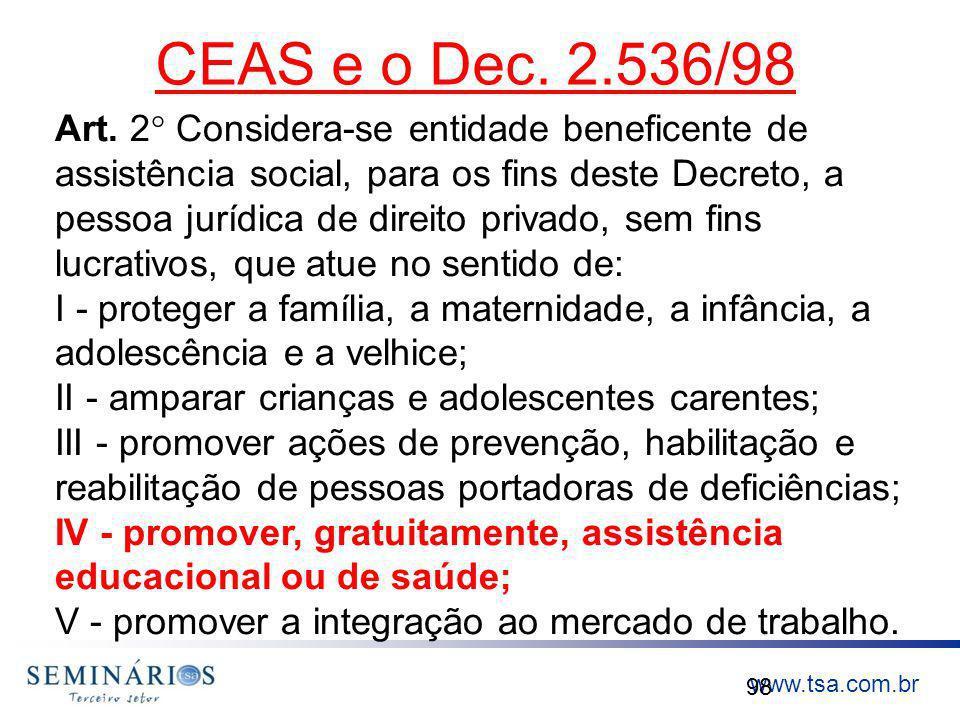 CEAS e o Dec. 2.536/98