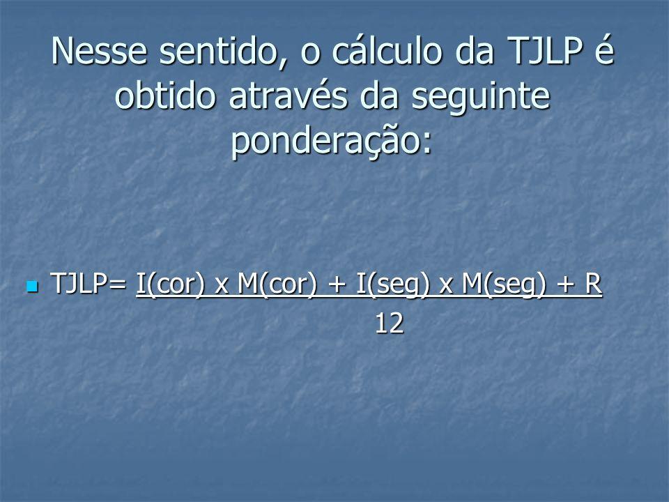 Nesse sentido, o cálculo da TJLP é obtido através da seguinte ponderação: