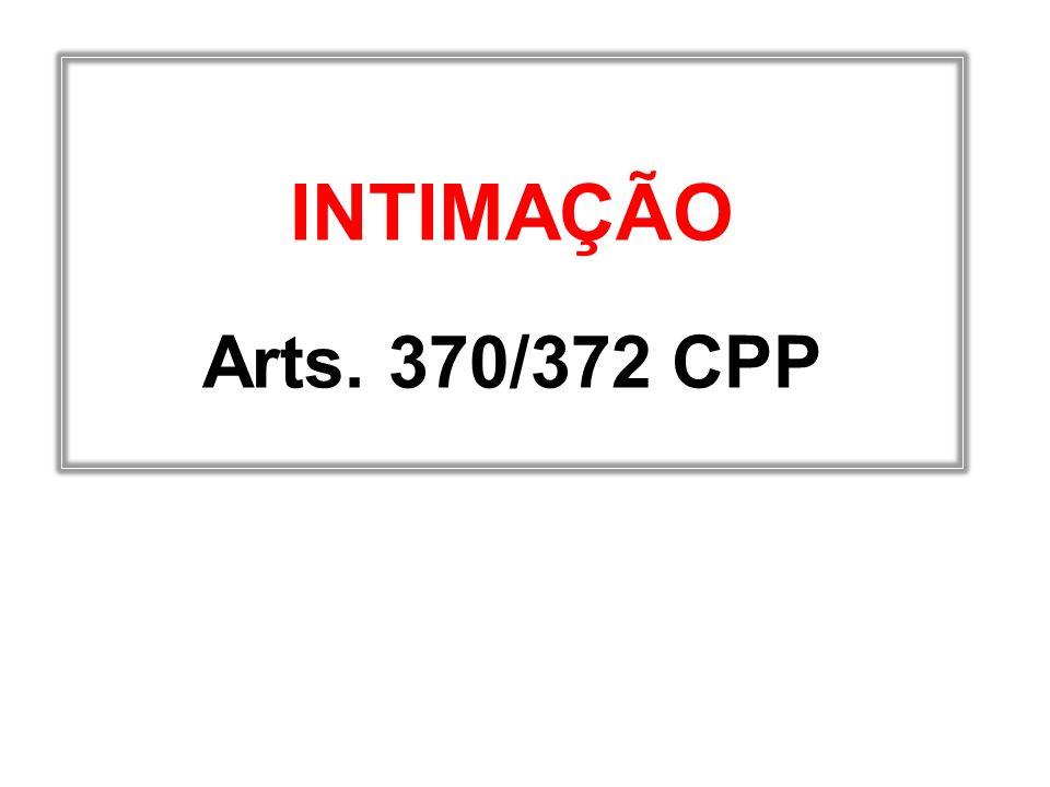 INTIMAÇÃO Arts. 370/372 CPP