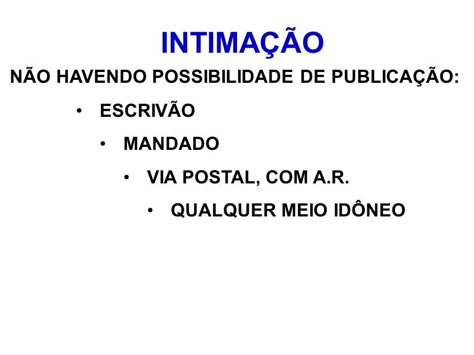 INTIMAÇÃO NÃO HAVENDO POSSIBILIDADE DE PUBLICAÇÃO: ESCRIVÃO MANDADO