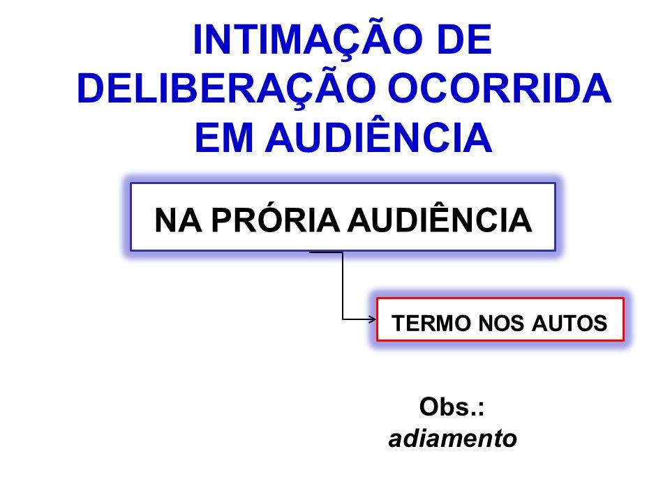 INTIMAÇÃO DE DELIBERAÇÃO OCORRIDA EM AUDIÊNCIA