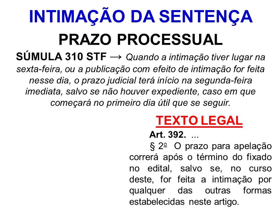 INTIMAÇÃO DA SENTENÇA PRAZO PROCESSUAL TEXTO LEGAL