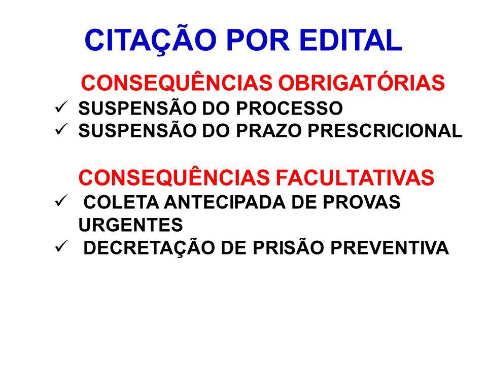 CITAÇÃO POR EDITAL CONSEQUÊNCIAS OBRIGATÓRIAS